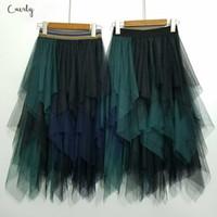 Wholesale dance petticoats resale online - Lolita Skirt Color Elastic High Waist Women Dance Tutu Skirts Chiffon Irregular Tulle Petticoat Midi Rokken Voile