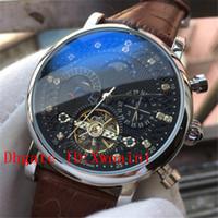 relojes de luna de las fases al por mayor-Nuevo Tourbillon Reloj para hombre Relojes mecánicos Relojes para hombre Marca de lujo de lujo Fecha Semana Fase lunar Reloj Hombre Marrón Reloj automático de cuero Reloj