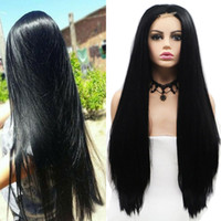 cosplay peruk uzun siyah düz saç toptan satış-Orta Kısmı 24 Inç Sentetik Siyah Dantel Ön Peruk 1 * 4 Kadınlar Için dantel Uzun Düz Saç Cosplay Peruk Bayanlar Günlük Aşınma