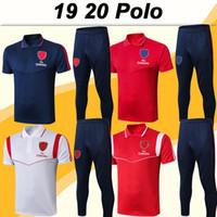 polo vermelho branco azul venda por atacado-19 20 Polo Mens camisas de futebol do kit 2019 2020 moda azul calças brancas Red Football Jerseys Adulto manga curta Vendas de preços Top Low