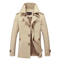 estilos de abrigo largo para hombre al por mayor-Nuevo Mens Trench Coat Diseñador de moda Hombre Medio-Largo Primavera Otoño estilo británico Chaqueta delgada Cazadora rompevientos Hombre Más tamaño M-5XL
