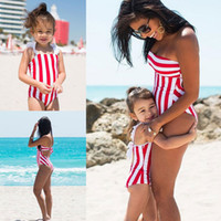 Wholesale mother daughter clothes online - Family Accessory Clothing Red Striped Baby Girl Swimsuit New Mother And Daughter Swimsuit Parent Child Bikini B11