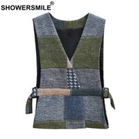 ingrosso gilet di esercito verde per le donne-SHOWERSMILE Plus Size Gilet donna Army Green Gilet a spina di pesce con cintura Donna Double Sided Tweed Spring Gilet donna gilet 5xl