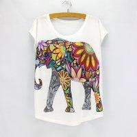 neue design-tops für mädchen großhandel-Neue Mode Blume Elefant Gedruckt T Shirts Frauen Sommer Tees Neuheit Design Casual Top Tees Für Mädchen