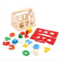 juguetes viejos de madera al por mayor-Bloques de madera, pequeños, geometría digital, casa, desmontaje, bloques de construcción, juguetes educativos para niños