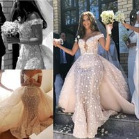 Wholesale mermaid white lace nude long dresses resale online - Lace Mermaid Wedding Dress With Detachable Train Sexy Off The Shoulder D Floral Bridal Gowns Charming Saudi Arabia Long Robe De Mariee