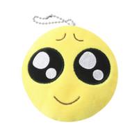 качественные мягкие игрушки оптовых-1Pcs Cute Face Key Chain Phone Emoji Emoticon Yellow Cushion Soft Stuffed Plush Toy Key Chain Fast Top Quality top quality