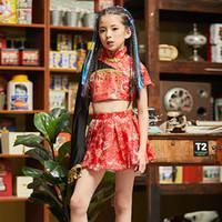 ingrosso costumi cinesi-Le ragazze di jazz del costume di ballo di stile cinese estate Catwalk Show costume dei bambini rosso elegante Hanfu cinese Folk Dance DQL1255