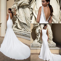 Wholesale crew neck backless wedding dress resale online - Crew Neck Satin Mermaid Wedding Dresses Lace Applique Beaded Backless Sweep Train Wedding Bridal Gowns robes de mariée BC2490