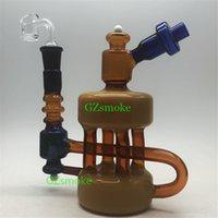 ingrosso nuovi disegni per narghilè-Nuovo design riciclatore colorato bong inebriante cera bong dab rig quarzo banger tubo di acqua di vetro olio rigs tubi di vetro narghilè