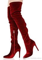ingrosso altezze della cosce burgundi-Stivali da donna alti in velluto rosso con vino rosso Stivali alti da donna in inverno con cinturini alti Stivali da moto da donna in autunno Scarpe eleganti da donna eleganti bordeaux