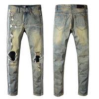 Wholesale jeans online - Amiri Jeans Mens Distressed Ripped Biker Jeans Casual Trousers Slim Fit Motorcycle Biker Denim Fashion Designer Pants Hip Hop Mens Jeans
