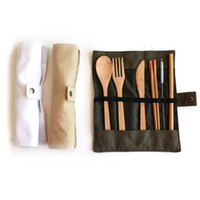 Wholesale soup knife for sale - Group buy Wooden Dinnerware Set Bamboo Teaspoon Fork Soup Knife Straw Catering Cutlery Set with Cloth Bag Kitchen Cooking Baby Feeding Tools ZZA1148