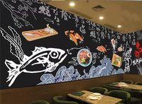 Wholesale chinese restaurant decor resale online - Mural wallpaper custom home decor living room bedroom photo hand painted black cuisine sushi restaurant wall painting