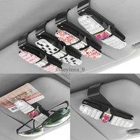 card holder racks 도매-2019 New 모조 다이아몬드 Car Auto 일 바이저 Glasses 선글라스 Card Ticket Holder Clip Universal Tool Storage 랙