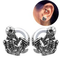 Wholesale skulls gauges for sale - Group buy 20pcs pairs Stainless Steel Skeleton Ear Plugs Tunnels Flesh Skull Expansions Piercing Ear Tunnel Gauges Body Jewelry