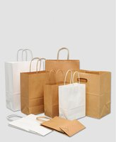 Wholesale kraft gift bags resale online - Brown Paper Bags with Handles Bulk Gift Bags Wedding Bag Party Bag Shopping Bags Kraft Bags Retail Bag Post Consumer Materials FSC