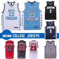 nakliye formaları toptan satış-Kuzey Carolina Tar Heels 23 Michael Jersey Allen 3 Iverson Georgetown Hoyas Ncaa Basketbol Formalar Düşük Fiyat Ücretsiz Kargo