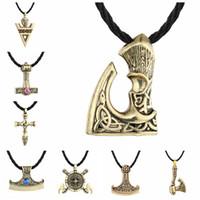 Wholesale axe pendants for sale - Group buy Norse Viking Asatru Symbols Thor S Hammer Mjolnir Axe Of Perun Antique Gold Antique Silver Necklace For Men Dropshipping