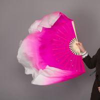 véus cor-de-rosa da dança do ventre venda por atacado-Metade Círculo De Bambu Quadro Ventiladores De Dança Do Ventre Chinês Véus De Seda Tamanho Assorted Hot Pink Branco Gradiente De Lantejoulas Coloridas Fan Dance Prop
