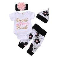 mädchen harem anzüge großhandel-Neue ins baby mädchen kleidung Neugeborenen Outfits baby strampler + Harem Pants + hut + stirnband 4 stücke Baby Anzug Mädchen Outfits Infant sets