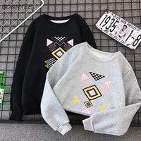 koreanische samtkleidung frauen großhandel-Hoodies Frauen Einfache Printed Korean Harajuku Studenten Allgleiches Warm Plus Velvet Womens Fashion 2019 Oansatz Kleidung Female Chic