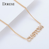 Wholesale necklace names resale online - DOREMI Crystal Pendant Letters Necklace for Women Custom Jewelry Custom Name Necklaces Numbers Personalized Zirconia Pendant