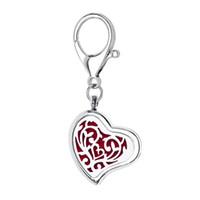 ücretsiz metal kelebekler toptan satış-Kalp şekli büyük istakoz kapat mıknatıs açık anne kelebek difüzör kolye madalyon anahtarlık anahtarlık parfüm yağı (10 ücretsiz pedleri)