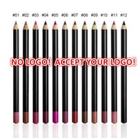 göz kalemi kalem dudak 12 toptan satış-Logo yazdırmak için 50 adet! 12 renkler Dudak Kalem 3in1 Mat Dudak kalemi Kalem kaş kalemi eyeliner Su Geçirmez Doğal bileşen özelleştirilmiş logo