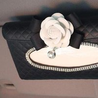 Wholesale paper towels holder for sale - Group buy Vehicle Mounted Hanging Camellia Tissue Box Decoration Exquisite Napkin Holder Paper Towel Box