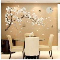 décoration de plantes chinoises achat en gros de-Chine Style Moon Plantes Sticker Mural Pour Chambre Fenêtre Porte Chambre Décoration Plante Mural Pastrol Amovible Diy Wallposter