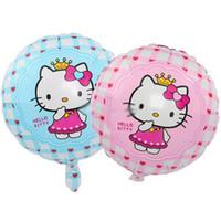 hello kitty doğum günü balonu toptan satış-18 inç yuvarlak hello kitty folyo balonlar parti doğum günü dekorasyon balonlar şişme karikatür helyum balon toptan çocuklar için bırak nakliye