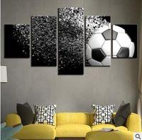 fußball wand leinwand großhandel-Wandkunst Leinwand Bilder 5 Panels Cartoon Fußball Kein Rahmen Malerei Leinwand Kunst Wandbild Für Bett Zimmer Ungerahmt Fußball