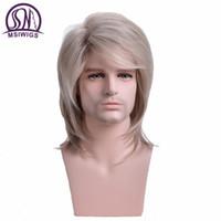 peruk saç toptan satış-Erkekler Peruk Düz Sentetik Peruk Uzun Erkek Saç Işık Sarışın erkek Peruk Patlama ile Isıya Dayanıklı Peruk