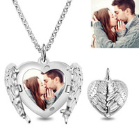 Wholesale necklace 925 heart angel resale online - Strollgirl sterling silver personalized custom photo Angel wing heart pendant engraved name necklace for Women Jewelry gift
