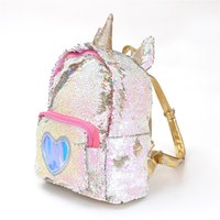 Wholesale women bling backpack for sale - Group buy Unicorn Sequins Backpack love heart cartoon School bags bling students shool bag Travel Beach Totes Paillette Crossbody Bag for Women Girls