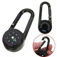 hayatta kalma araçları tuşu toptan satış-Çok Fonksiyonlu Mini 3in1 Karabina Pusula Termometre Anahtarlık Kanca KeyChain Açık Kamp Yürüyüş Survival Aracı MMA2037-1