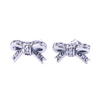 Cute small Bow Stud Earrings retail Box sets High quality 925 Sterling Silver Women Girls CZ Diamond Gift Earring