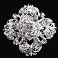 gelin kristali yapay elmas broşları toptan satış-Gümüş Ton Temizle Rhinestone Kristal Broş Çiçek Kız 'Korsaj Moda Broş Düğün Gelin Buketi Pimleri Broşlar B634