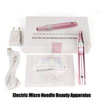 elektrikli derma kalemi mikro güzellik toptan satış-Elektrikli Derma Pen Damga Oto Mikro İğne Microneedle Roller Güzellik Aparatı Anti Aging Kırışıklıklar Skar Cilt Terapi Wand DHL azaltın