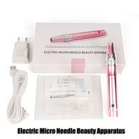 falten zauberstab groihandel-Elektrischer Derma Pen Stamp Auto Micro Nadel Microneedle Roller Schönheit Gerät Anti-Aging-Falten reduzieren Narbe Skin Therapy Wand DHL
