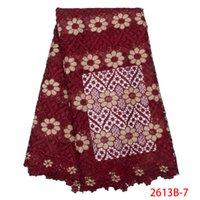 dantel kumaş fiyatı toptan satış-Sıcak Satış Ucuz Fiyat Gelin Nakış LacE Beyaz Afrika Gipür Dantel Kumaş Yüksek Kalite Nijerya kord Dantel Elbise GD2613B-4