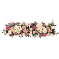 ingrosso decorazioni di arco-REGINA DELLA ROSA 100cm Seta artificiale Rosa Fiore Fila Guida di nozze fai-da-te Guida ad arco Decorazione di fiori artificiali Apertura di studio Puntelli