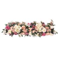 accessoires de bricolage mariage achat en gros de-ROSE REINE 100 cm Soie Artificielle Rose Fleur Rangée DIY Mariage Route Guide Arch Décoration Artificielle Fleur Ouverture Studio Props