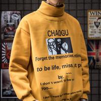 koreanische kleidung locker großhandel-Frühling und Herbst hohe runde Kragen Herren Sweatshirts Langarm Hoodies Hip-Hop gedruckt Flut Ins koreanische Ausgabe lose Hoodie Kleidung Mann