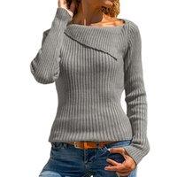 blusas de cor clara venda por atacado-S-5XL Plus Size Simples Cor Sólida Pulôver Das Mulheres Outono Inverno Base Básica Fina De Malha Malhas Jumpers Blusas