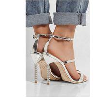 offene zehen silber hochzeit sandalen großhandel-Frauen Sandalen Kristall Stiletto verschönert High Heels Gold / Silber offene Spitze Knöchelriemen Mode Frau Party Hochzeit Schuhe