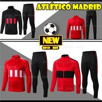 ropa deportiva para adultos al por mayor-Tailandia Atlético de Madrid chaqueta de chándal adulto establece 19 20 traje de entrenamiento de manga larga ropa deportiva chaqueta de chándal de fútbol