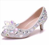damen schöne pumpen großhandel-Neue schöne Strass Frauen High Heels spitze Fliege kristall Silber Hochzeit Schuhe handgefertigt für Damen mit High Heels plus Größe