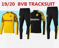 ingrosso uomini che indossano tuta-2019/20 Borussia Dortmund Set tuta giacca uomo Kit manica lunga Tuta da allenamento 2019 2020 Borussia Dortmund abbigliamento sportivo da calcio